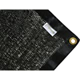 e.share Shade Sun Mesh 40% Black Shade Cloth Square with Gromments Taped UV Resistant 12ft x 6ft