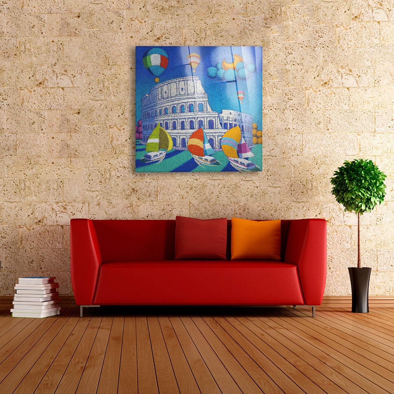 Roma Stefano Calisti Quadro Quadri Moderni arredo casa Decoro Design Colosseo Pronto da Appendere Giallobus 50x50 cm Stampa su su Vetro Acrilico plexiglass Vari Formati