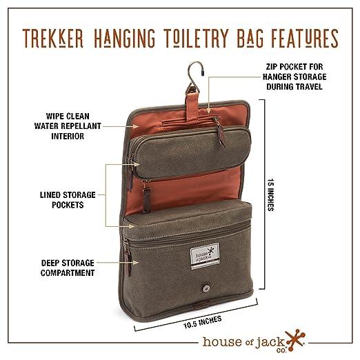 fd142a3ebc TREKKER Hanging Toiletry Bag-Canvas   Leather Men s Dopp Kit-Hanging  Toiletry Organizer   Beauty