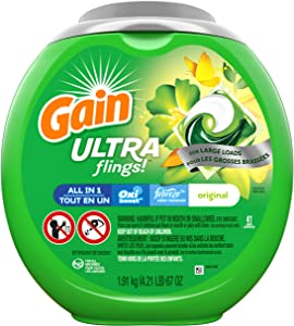Gain Ultra Flings Liquid Laundry Detergent Pacs Designed for Large Loads, Original Scent, 41 Count