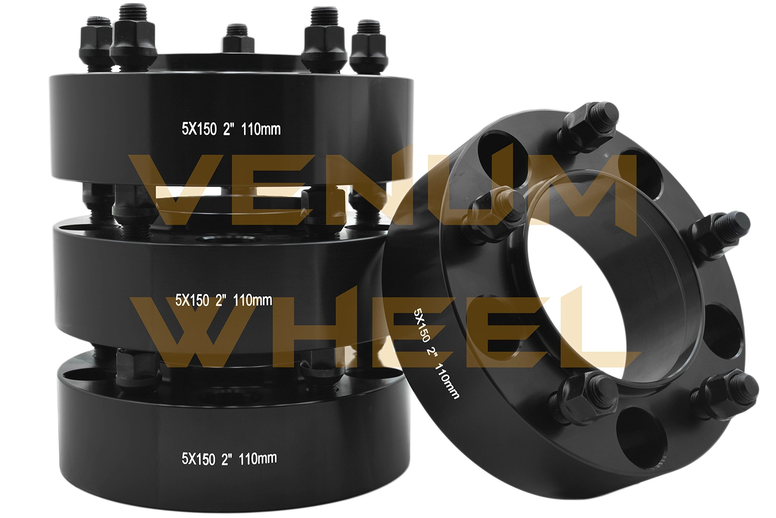 4 Pc 5x150 to 5x150 2'' Thick Black Hubcentric Wheel Spacers Adapter for Toyota Tundra 2007-2016 Hub Bore 110mm 14x1.5 Studs 6061 T6 Billet Aluminum (07-) Black