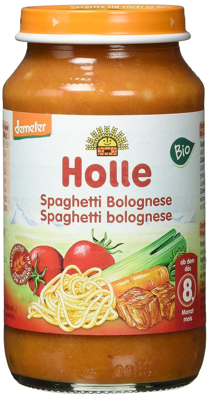 Holle Spaghetti Bolognese, 6er Pack (6 x 220 g) - Bio 2178D Allgergenarm Babygläschen Demeter