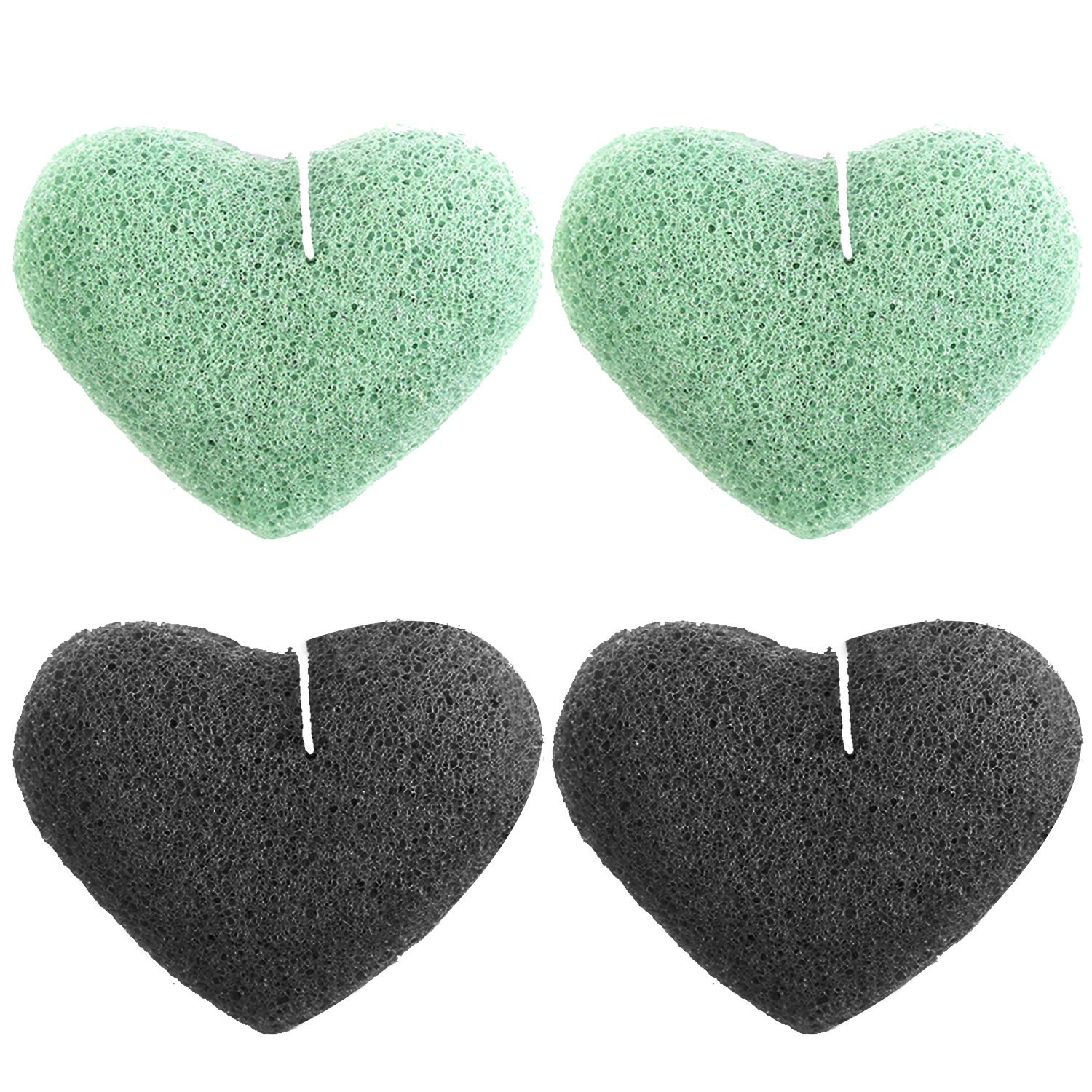 4 PCS 2 Colors Soft Natural Konjac Sponge Facial Body Cleaning Sponges for Eliminating Dirt Oil Blackheads Smoothing Skin Love Heart Style Vococal
