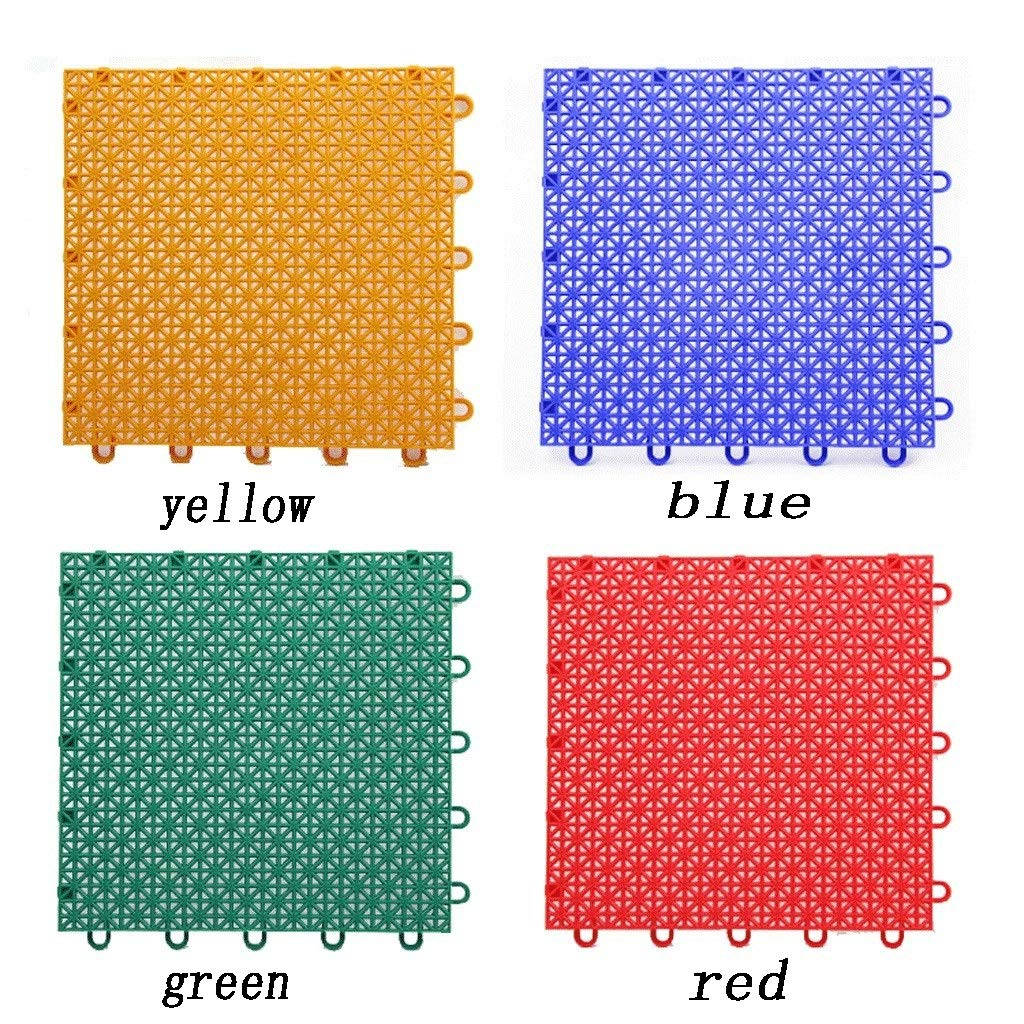Interlocking Pad Outdoor Non-Slip Plastic Floor Mat Suspended Assembled Floor Suitable for Basketball Court Color Can Be Customized 50 Square Meters (Color : Red4)