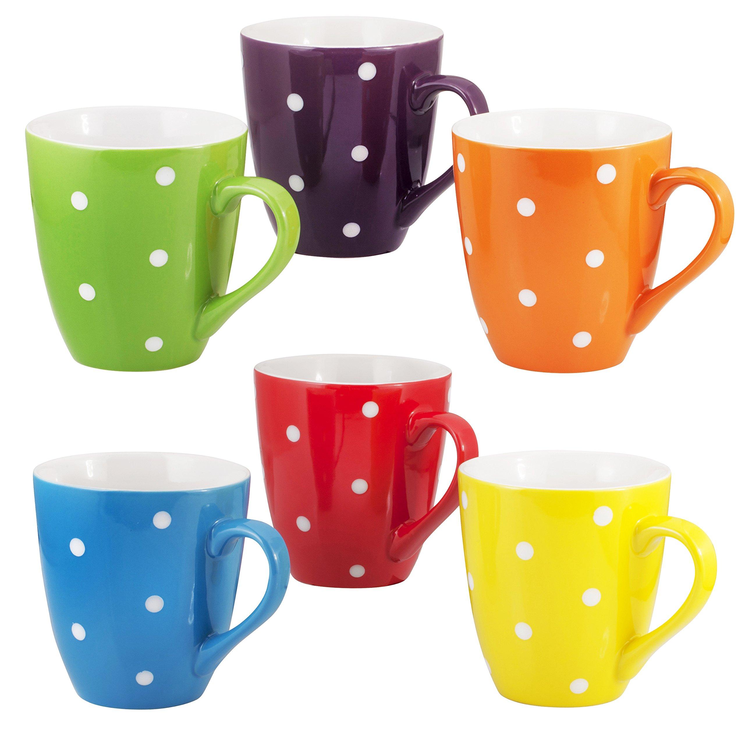 Coffee Mug Set Set of 6 Large-sized 16 Ounce Ceramic Coffee Mugs Restaurant Coffee Mugs By Bruntmor (Polka Dot) by Bruntmor (Image #6)
