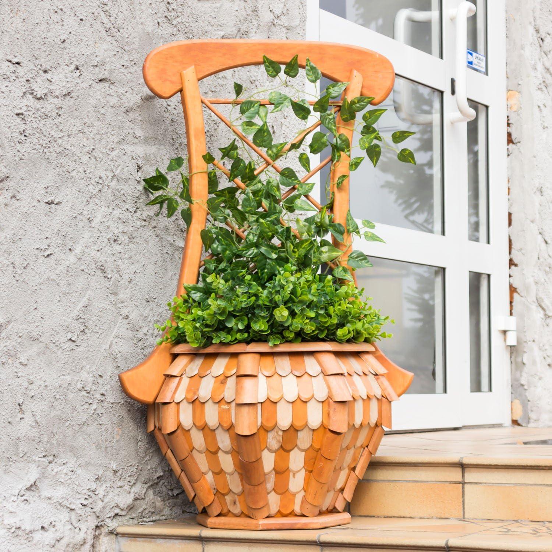 Jardinera macetero Pergola con parrilla de madera natural ...
