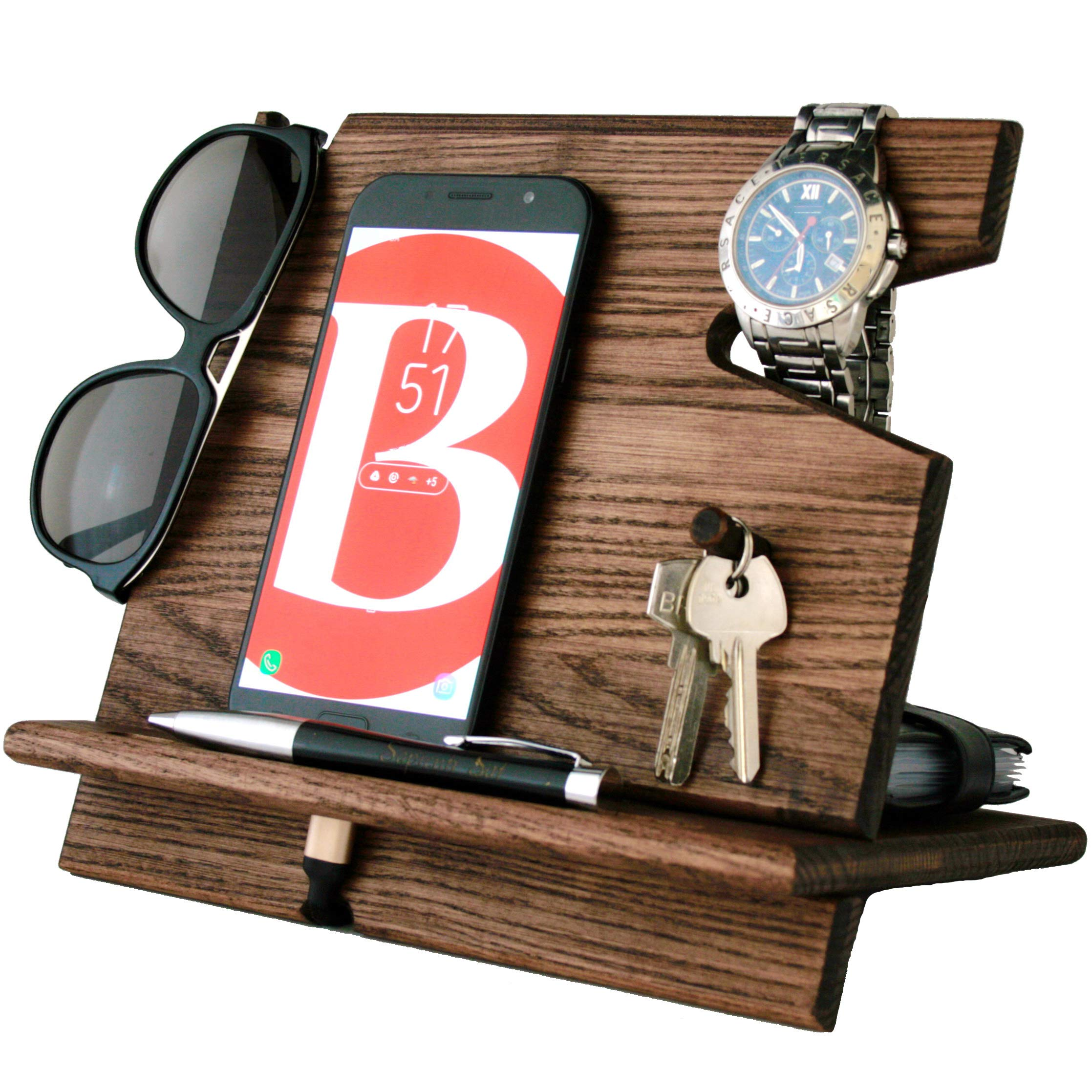 Wooden Cell Phone Stand. Nightstand Charging Dock Plus Watches Holder. Mens Wood Bed Side Valet Tray Organizer. Desk Top Docking Station Smart Mobile Base. Cute Universal Dresser Caddy Device Storage