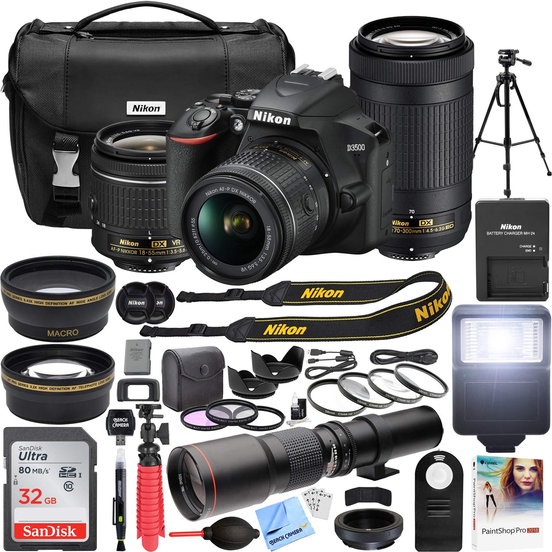 Nikon D3500 DSLR Camera with 2 Lens NIKKOR AF-P DX 18-55mm f/3.5-5.6G VR and 70-300mm f/4.5-6.3G ED Dual Zoom Lens Kit + 500mm Preset f/8 Telephoto Lens + 0.43x Wide Angle, 2.2X Pro Bundle