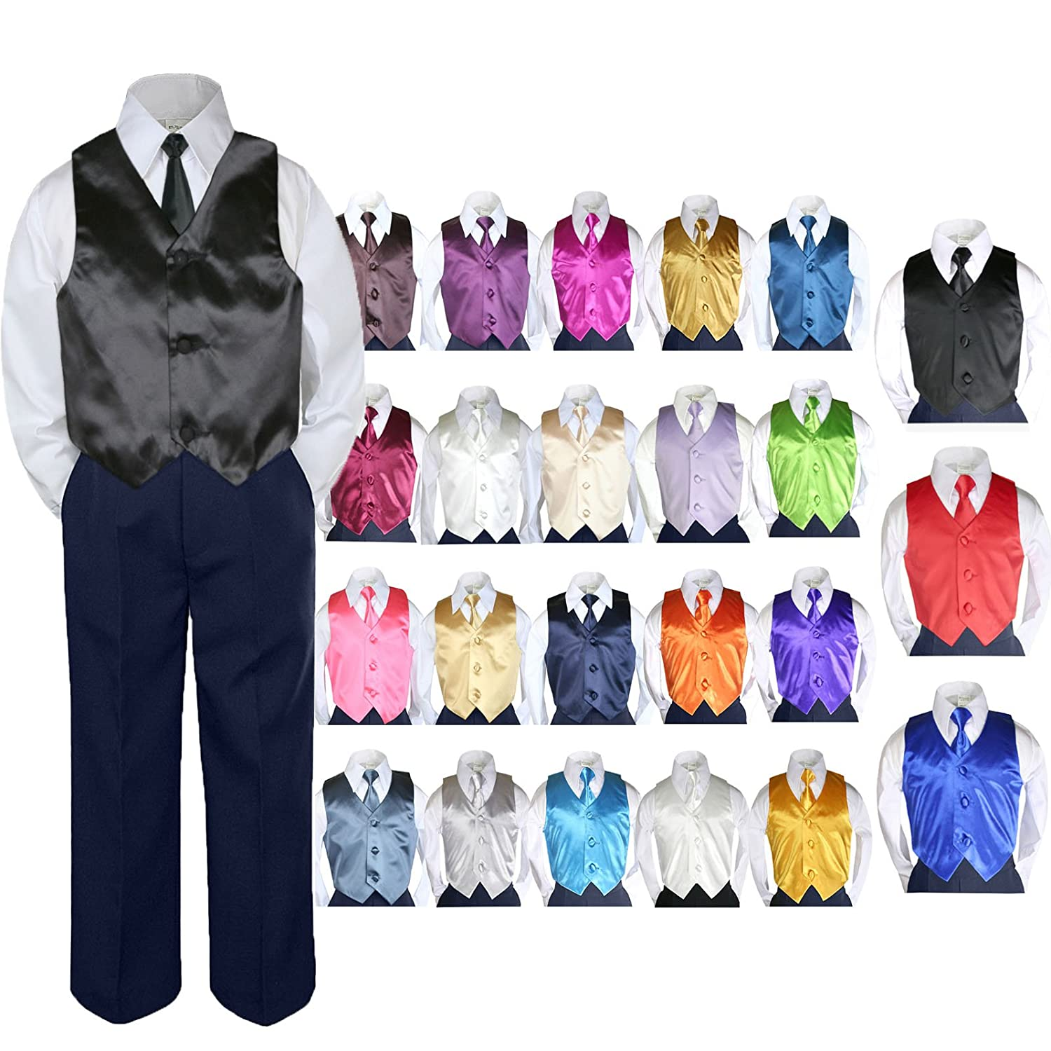 4pc Baby Toddler Boy Formal Suit Tuxedo NAVY Pants Shirt Vest Necktie Set Sm-4T