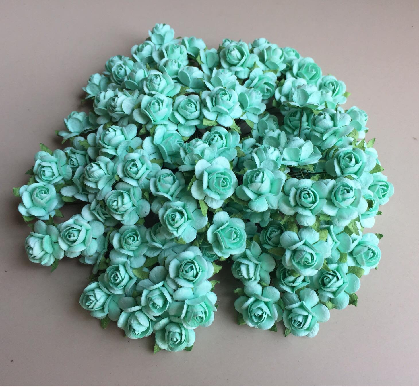 100 pcs mini Rose Mint Green color Mulberry Paper Flower 20 mm scrapbooking wedding doll house supplies card By' Thai decorated by Thai Decorated