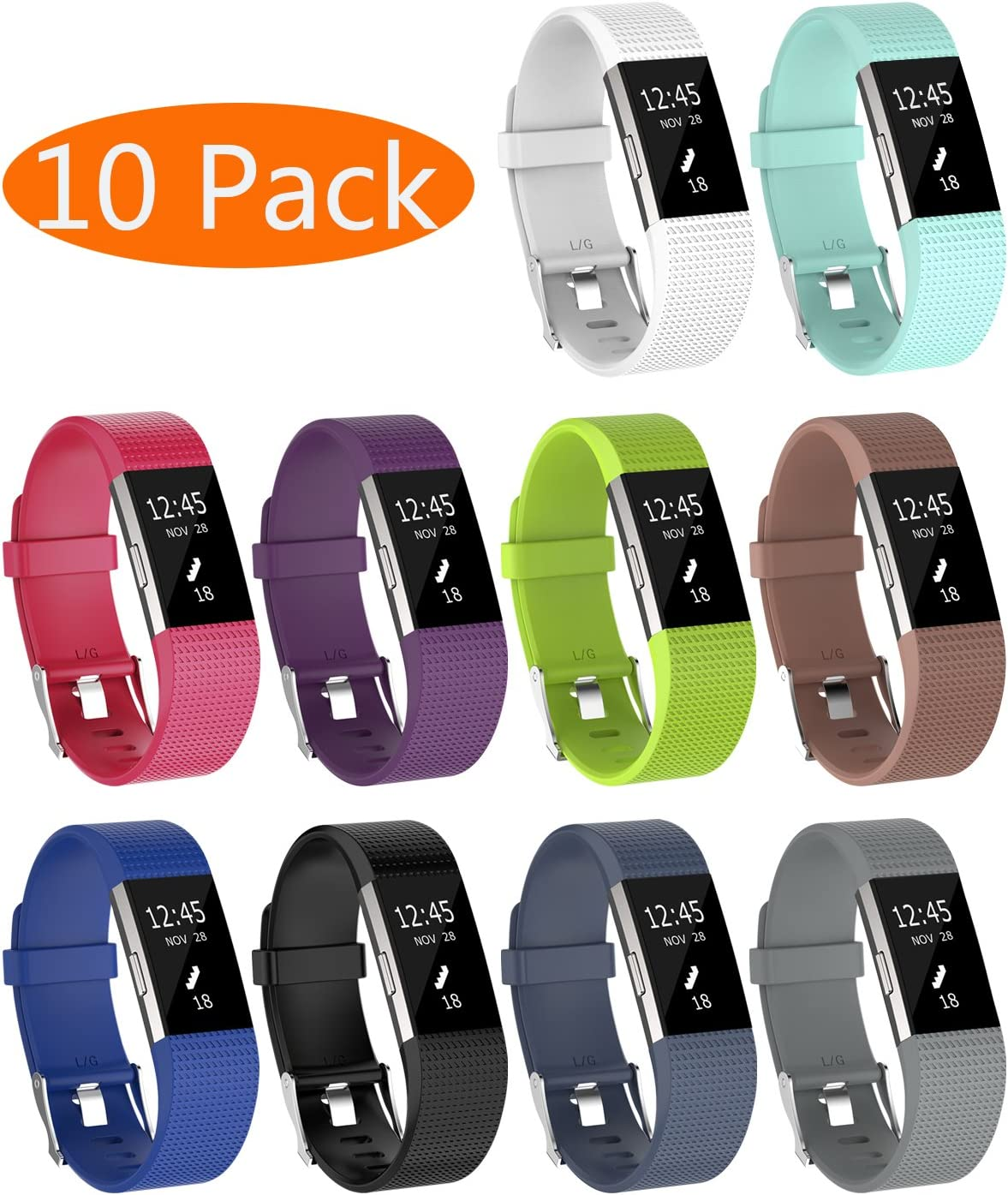 with Metal Buckle Fitness Wristband Sport Strap Women Men Soft Silicone Replacement Band for Fitbit Charge 2 KingAcc Compatible Fitbit Charge 2 Bands 10-Pack, 10 Colors, Small
