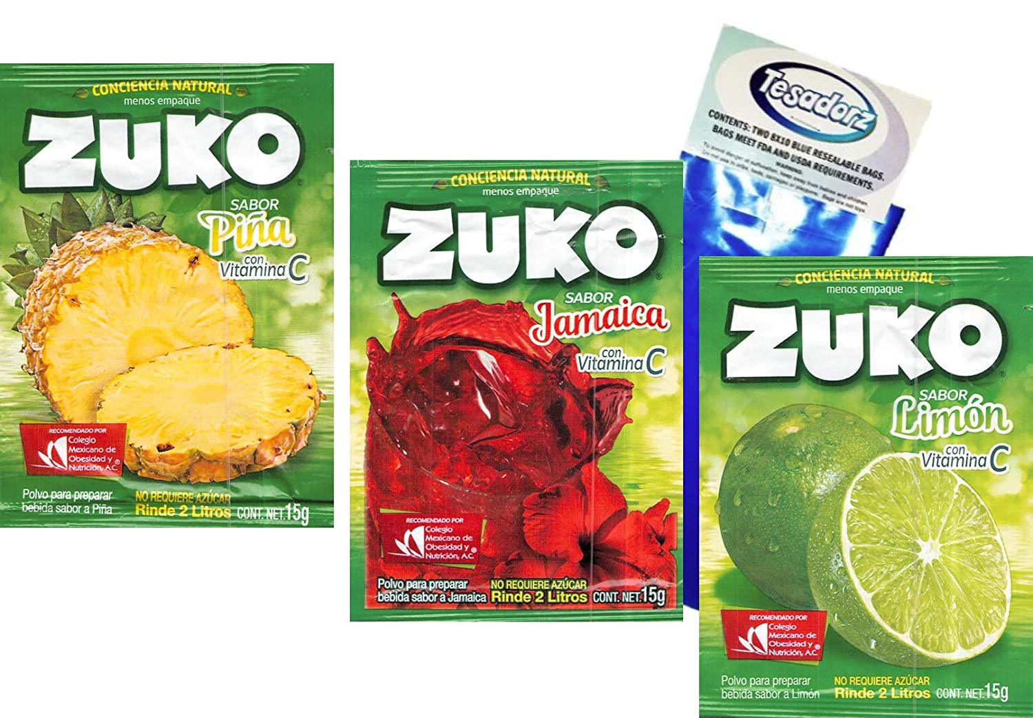 Amazon.com : Zuko Powdered Drink Mix ((Variety #1; Pack of 12) and Tesadorz Resealable Bags : Grocery & Gourmet Food
