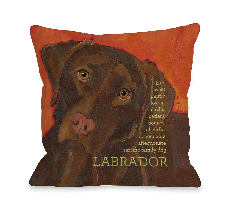 One Bella Casa Labrador 2 Throw Pillow, 18 by 18-Inch