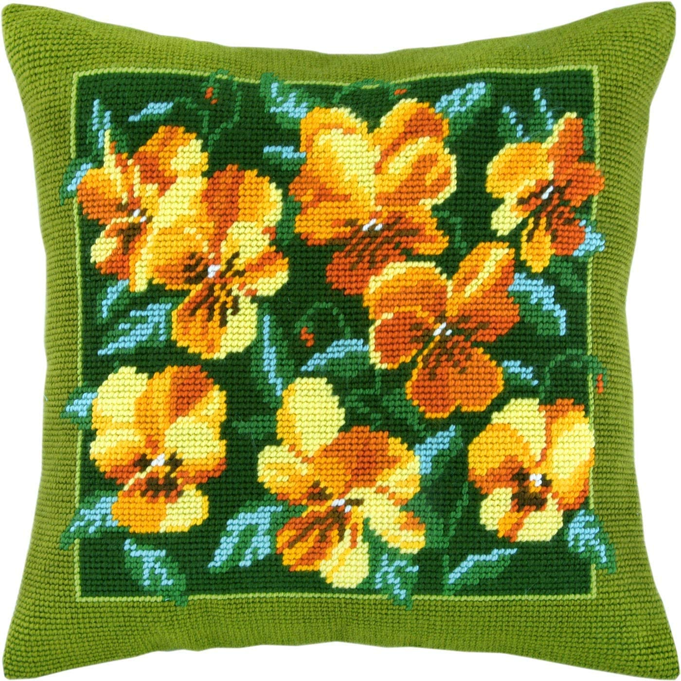 Golden Bouquet Throw Pillow 16/×16 Inches Printed Tapestry Canvas European Quality Needlepoint Kit