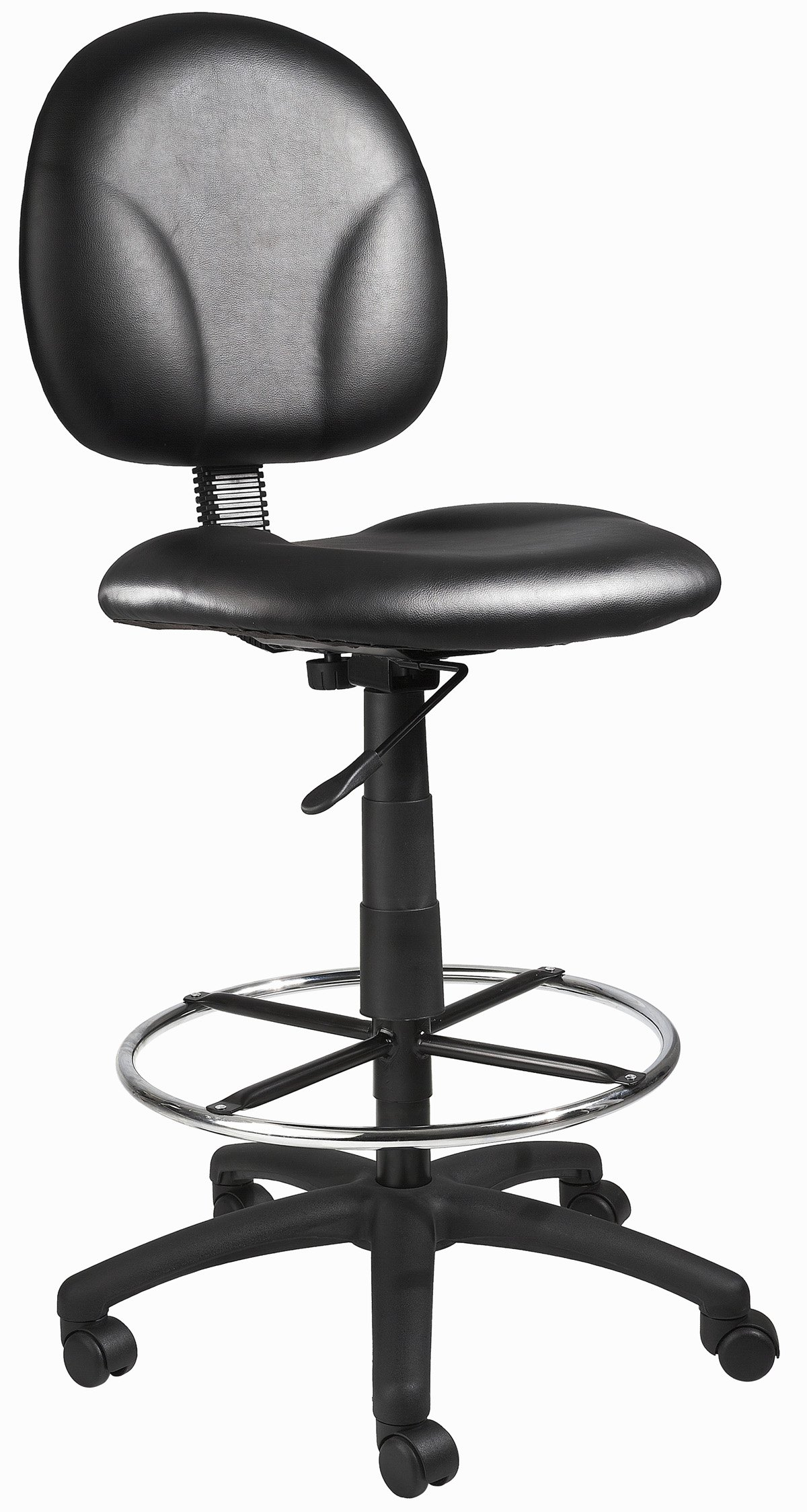 Boss Office Products B1690-CS Stand Up Caressoft Drafting Stool without Arms in Black by Boss Office Products