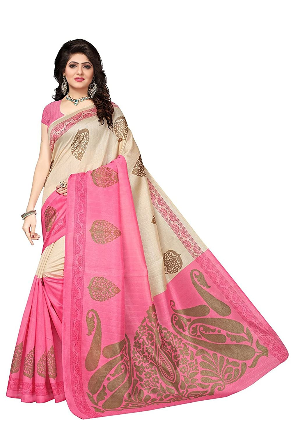 Shonaya Women`S Pink Colour Bhaglpuri Silk Printed Saree with Unstitched Blouse Piece DULHANIYA-PINK