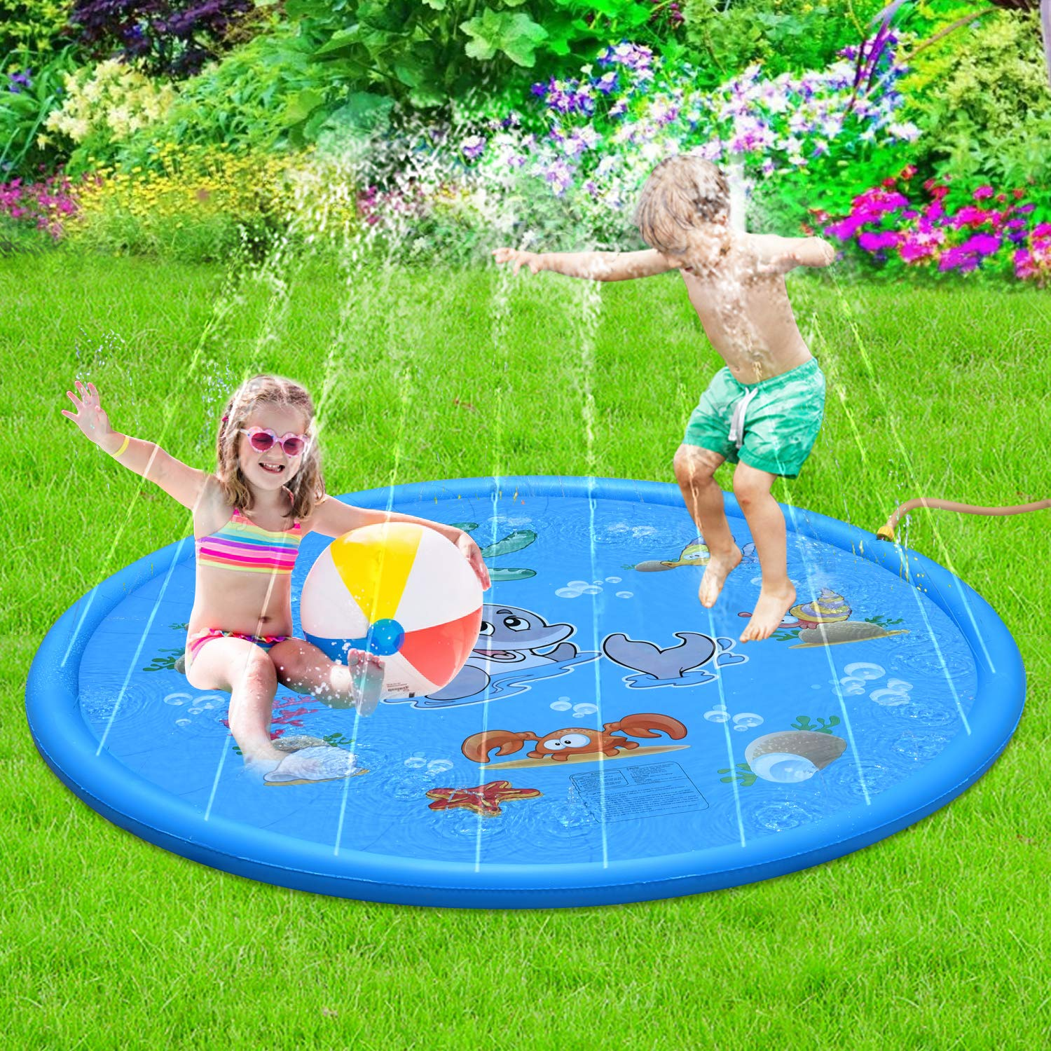 Sprinkle & Splash Play Mat - 68'' Water Sprinkler, Kiddie Outdoor Outside Water Pool Toys for Toddlers Kids Children Infants Boys and Girls - Perfect Inflatable Outdoor Summer Water Toys Sprinkler pad by Forliver
