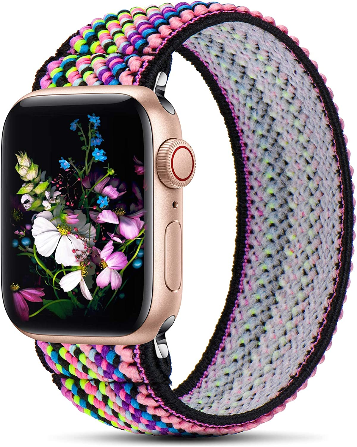 GeekSpark Elastic Band Compatible for Apple Watch Bands 38mm 40mm 42mm 44mm Stretchy Loop Strap Replacement Wristband for iwatch Series 6/SE/5/4/3/2/1 (Colorful Stripe S/M 38mm/40mm)