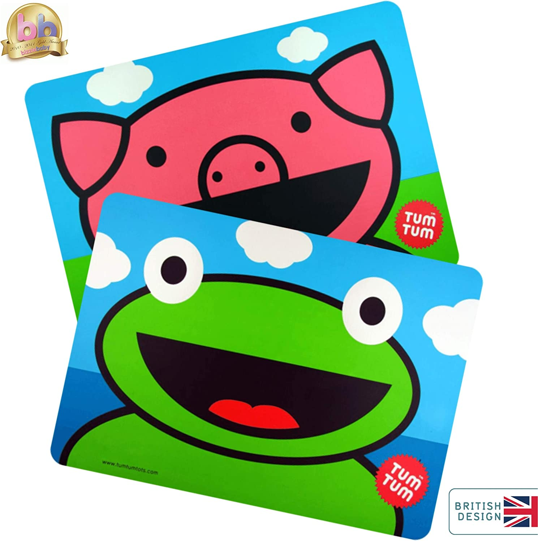 45cm x 33cm BPA Free Scruff /& Bluebell TUM TUM Mega Size Kids Placemat Bundle,2 x Easy Wipe Childrens Placemats
