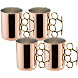 Old Dutch Brass Knuckle Moscow Mule Mug, 20-Ounce, Set of 4