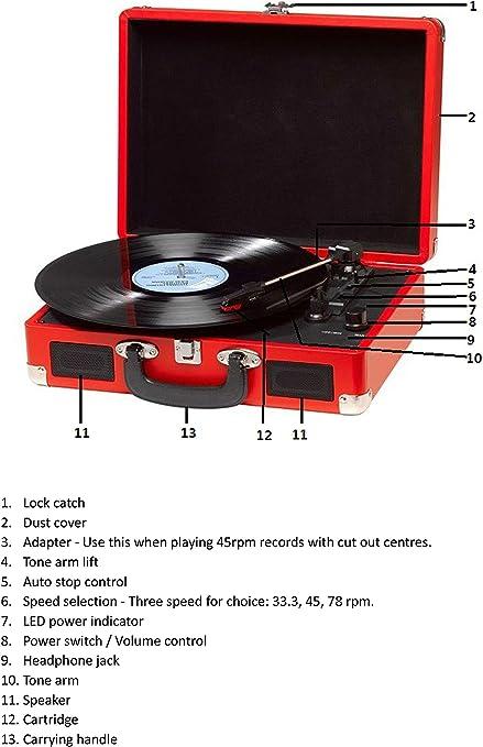 Tocadiscos Denver VPL-120 Red, Reproducción a 3 Velocidades ...