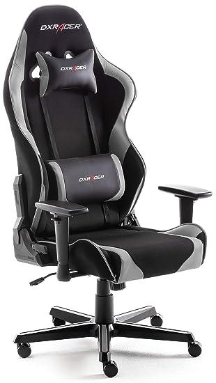 Robas Lund DX Racer V2 Chaise De Bureau Tissu Noir Gris Ca 65 X 126 66 Cm