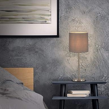 Tischlampe Tischleuchte 7002-014 DxH Grau inkl Nachttischleuchte 160x385mm Schreibtischlampe Briloner Leuchten Nachttischlampe Kabelschalter Stoffschirm 1x E14