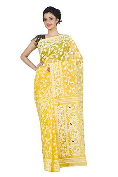 45481e72e8 RLBFashion Dhakai Jamdani Saree (Yellow): Amazon.in: Clothing & Accessories