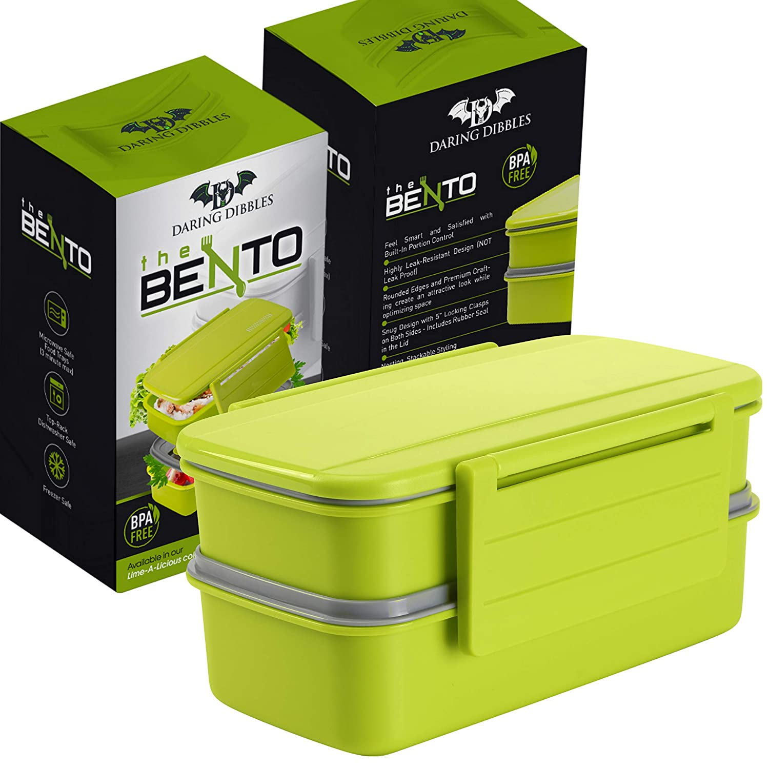 Lunch Box For Women Bento Lunch Box Container 5.5 Cup Capacity Snack Container and Utensils Daring Dibbles DD-BB1