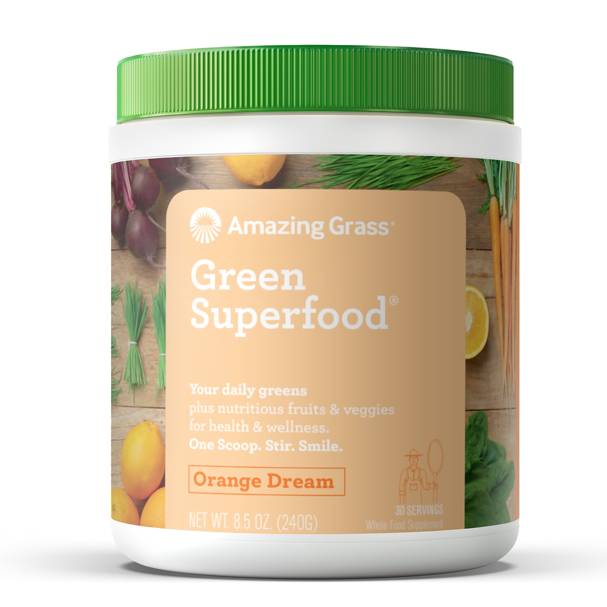 Amazing Grass Green Superfood Organic Powder with Wheat Grass and Greens, Flavor: Orange Dream, 30 Servings
