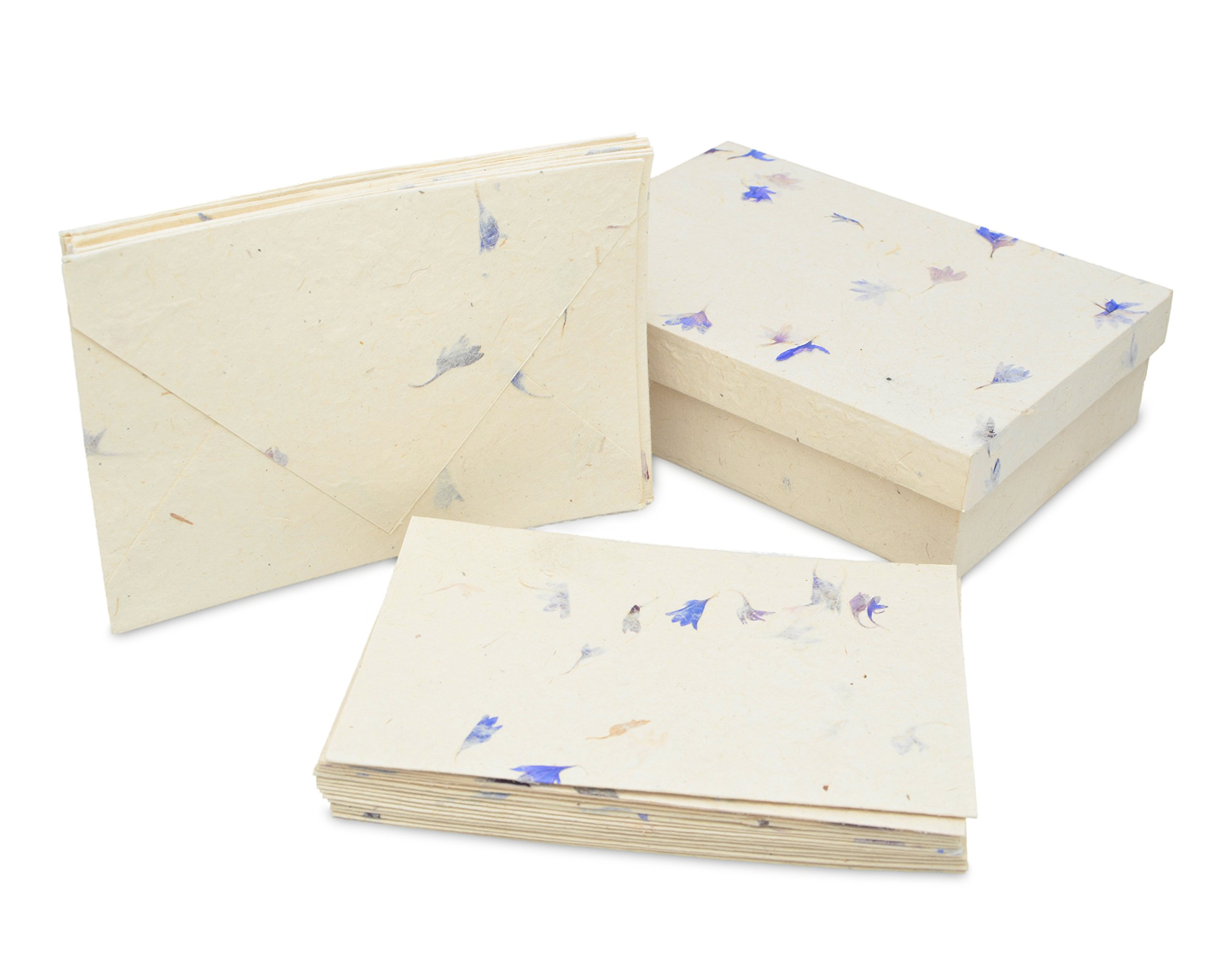 Nepali Cherish Greeting Card & Envelope Box Set with Handmade Lokta Paper from Nepal, 15 Greeting Cards (Cornflower)