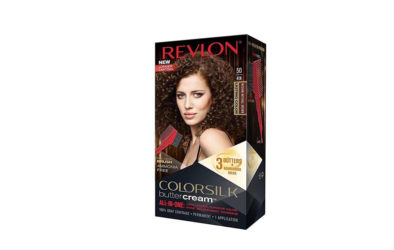 Revlon Colorsilk Buttercream Hair Dye, Medium Natural Brown, Pack of 1