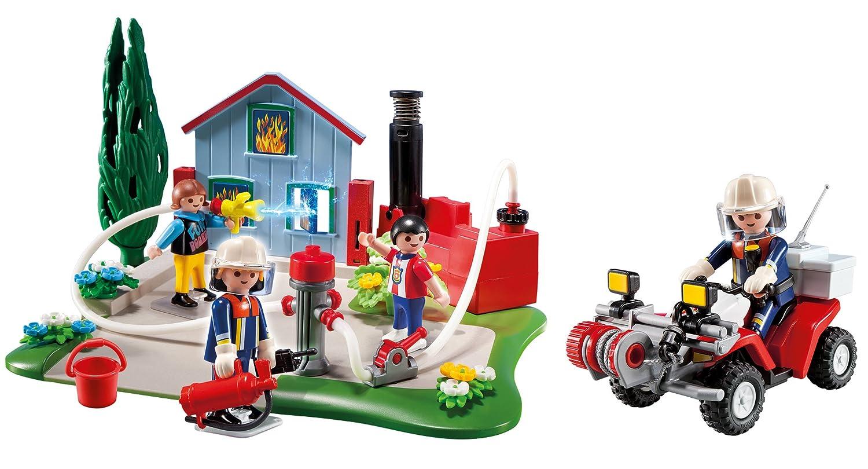 playmobil 5169 figurine compact set anniversaire brigade de pompiers avec quad amazonfr jeux et jouets - Playmobil Pompier