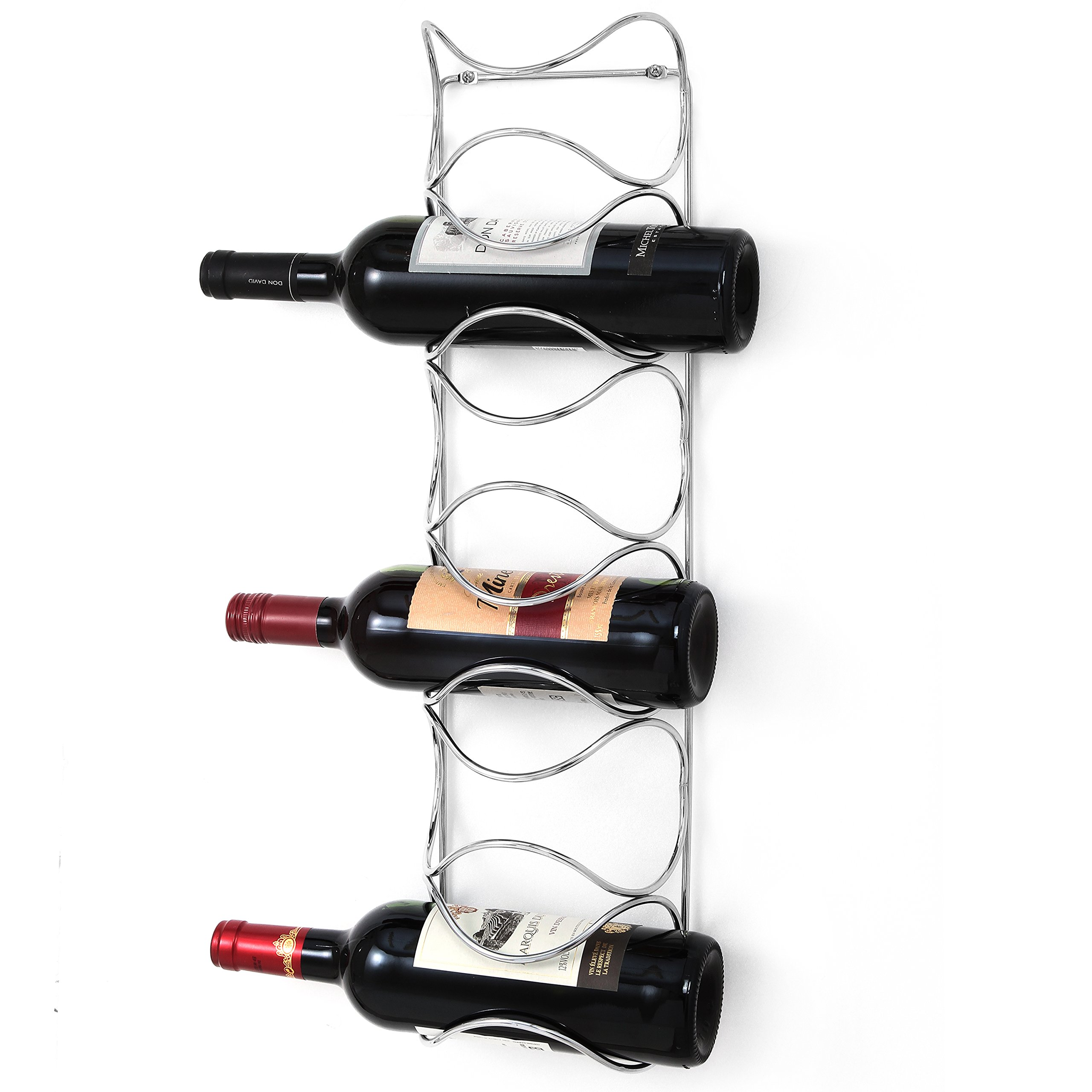 Modern Chrome-Plated Steel Wire Wall Mounted 6-Bottle Wine Rack, Silver