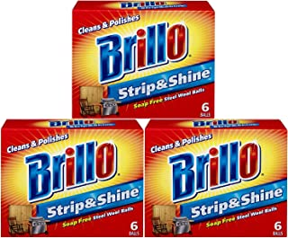 product image for Brillo Supreme Strip & Shine Soap Free Steel Wool Balls 6 balls (Pack of 3)
