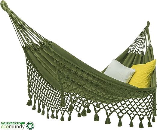 ecomundy Romance L 320 Verde, Premium Hamaca con Flecos, Algodon ...