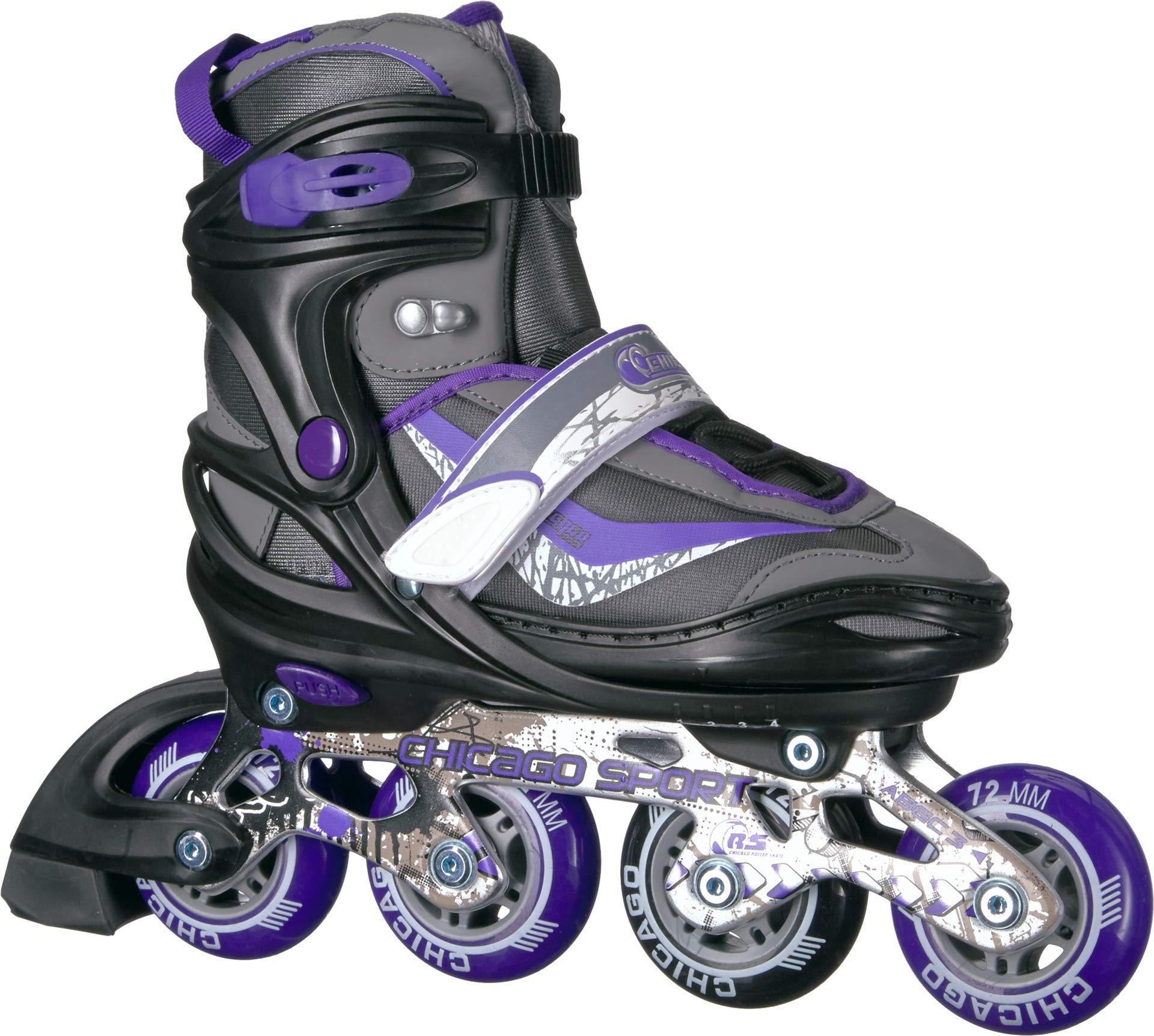 Chicago Adjustable Purple Inline Skates - Youth Large (Adjusts Size 5-8)