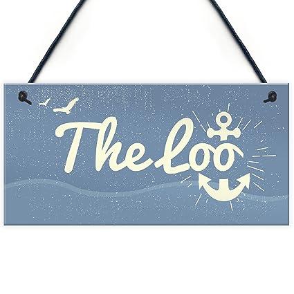 Amazon Com The Loo Bathroom Signs Seaside Plaques Nautical Gift