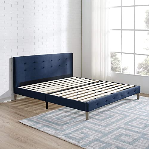 Classic Brands DeCoro Seattle Modern Tufted Upholstered Platform Bed Headboard and Wood Frame with Wood Slat Support, Queen, Antonio Sapphire