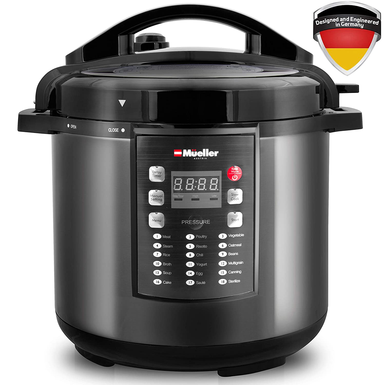 MUELLER Pressure Cooker 10-in-1 Pro Series 19 Program 6Q with German ThermaV Tech, Cook 2 Dishes at Once, BONUS TEMPERED GLASS LID, Saute, Steamer, Slow, Rice, Yogurt, Sterilizer (Graphite)