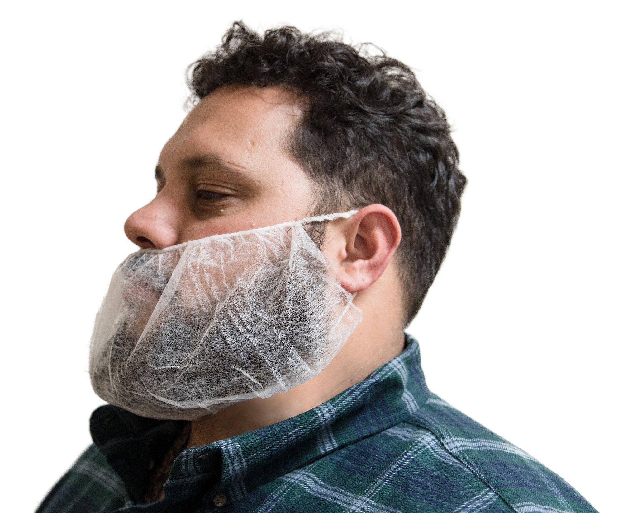AMMEX - BR1 - Beard Cover - Disposable, Non-woven polypropylene, Unisize, White (Case of 1000)