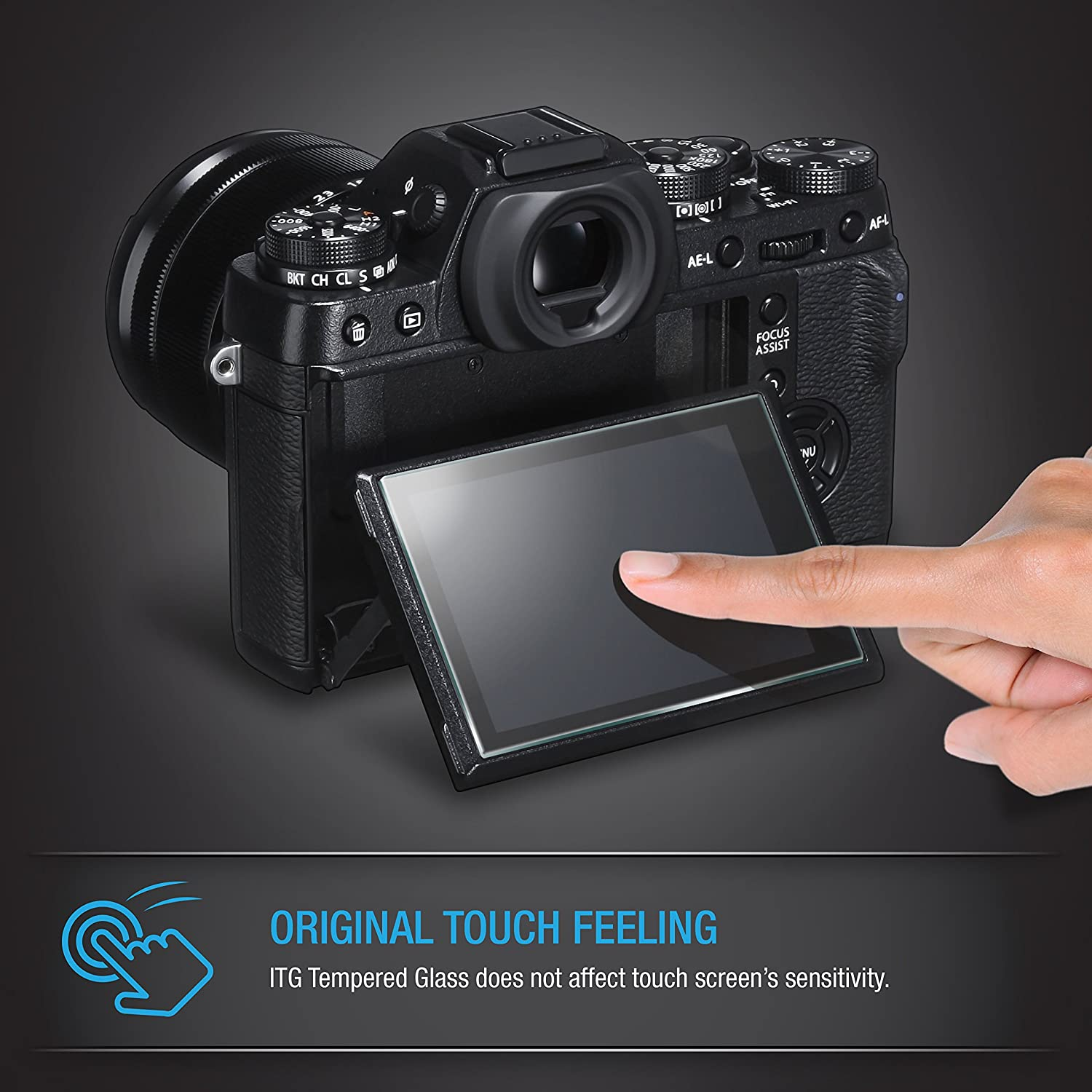 Canon EOS M3 M5 M10 100D G1 X Mark II Kiss X7 LCD Tempered Glass Camera Screen Protector Patchworks ITG 9H Hardness Oleophobic Coated Smooth Surface Anti-Scratch Anti-Fingerprint Tempered Glass