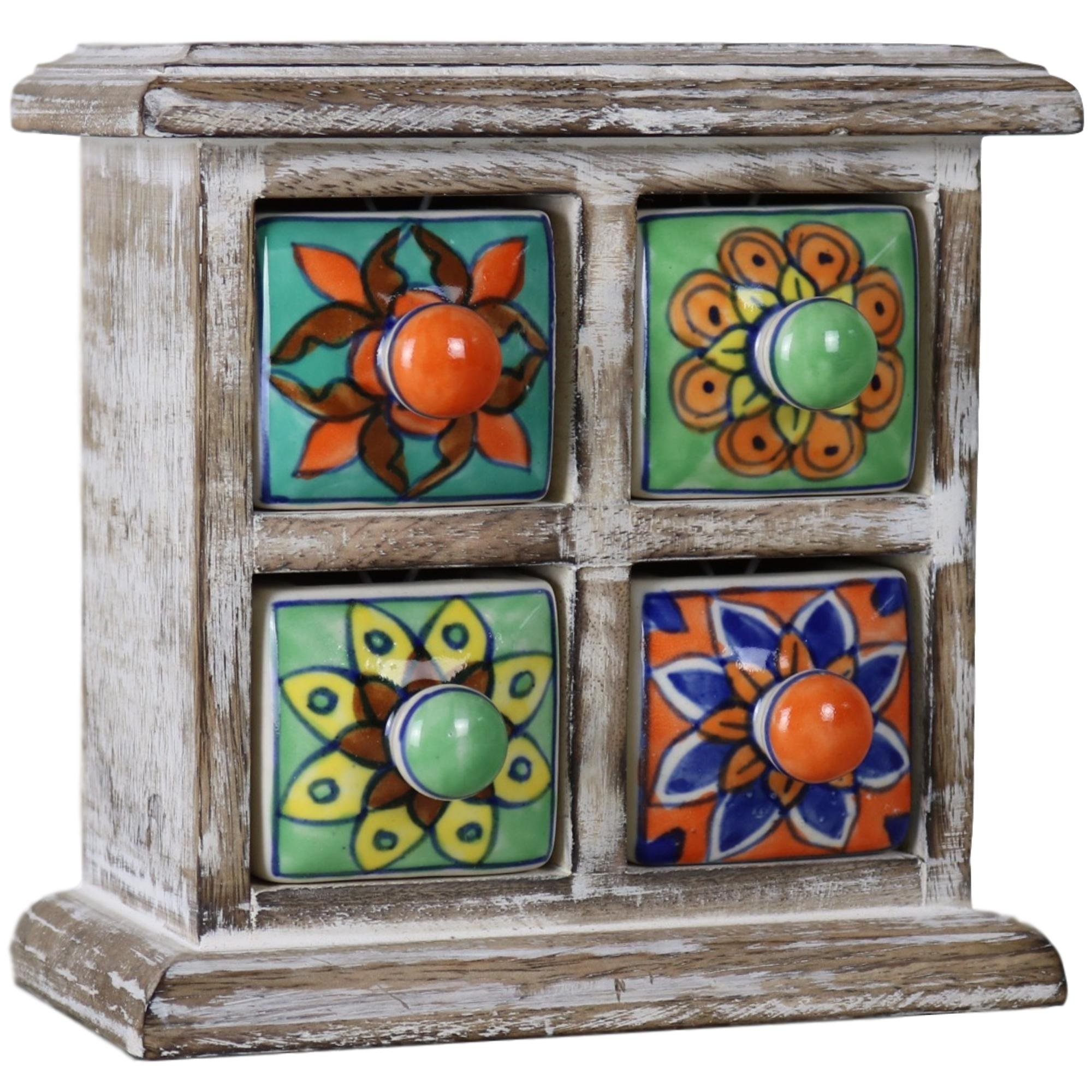 Ferus & Fivel 4 Drawer Ceramic Desktop Mini Chest of Drawers Jewellery Wood Box Cabinet (Multi-Colour)