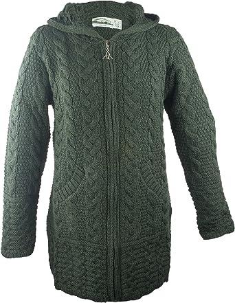 West End Knitwear Merino Wool Hooded Zip-Up Irish Sweater Coat