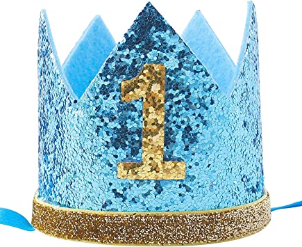 Terrific Celebris Glitter Baby Boy First Birthday Crown Hat Headband For Funny Birthday Cards Online Kookostrdamsfinfo