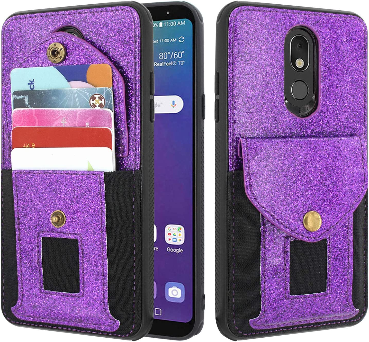 Lacass Shockproof Slim Leather Wallet Case Protective Cover with Elastic Pocket Credit Card Slot Holder for LG Stylo 5 / Stylo 5 Plus/Stylo 5V (Glitter Purple)