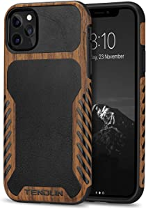 TENDLIN Compatible with iPhone 11 Pro Max Case Wood Grain with Leather Outside Design TPU Hybrid Case