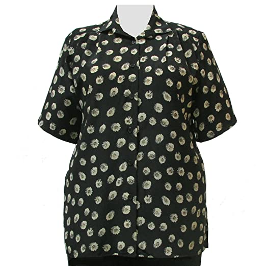 e5e5cf24d5f A Personal Touch Women s Plus Size Starburst Floral Short Sleeve  Button-Down Blouse - 1X