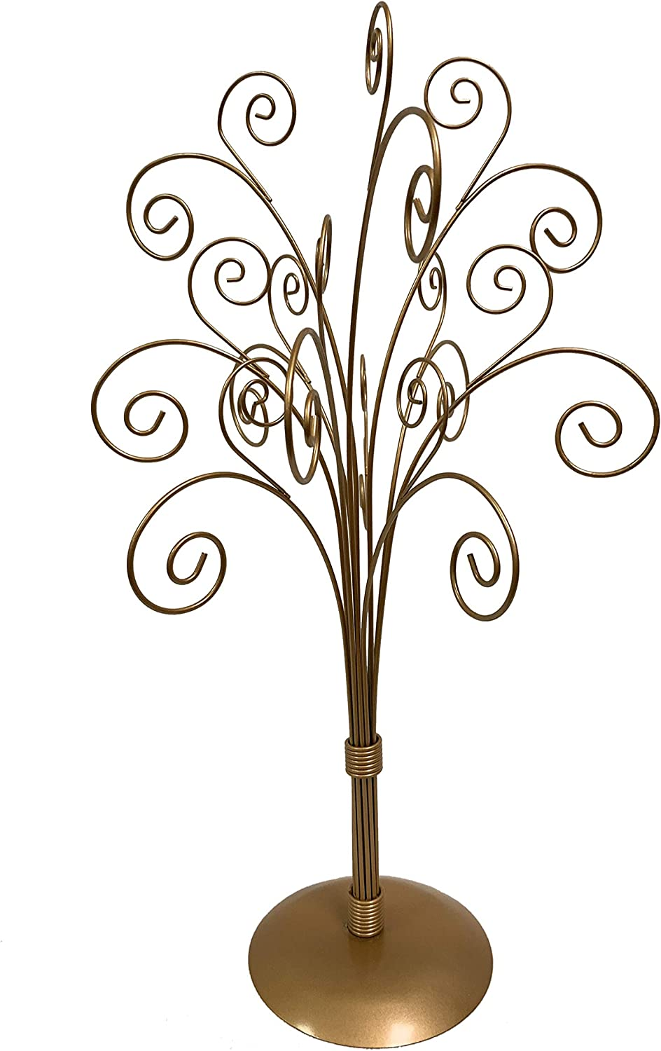 """Tripar Gold Metal Ornament Display Tree and Jewelry Organizer – 16"""" Wire Ornament Stand and Necklace Holder Décor with 11 Arms"""