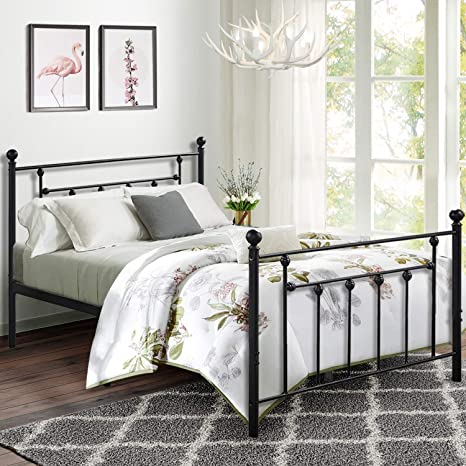 vecelo queen size bed frame metal platform mattress foundation box spring replacement with headboard victorian style
